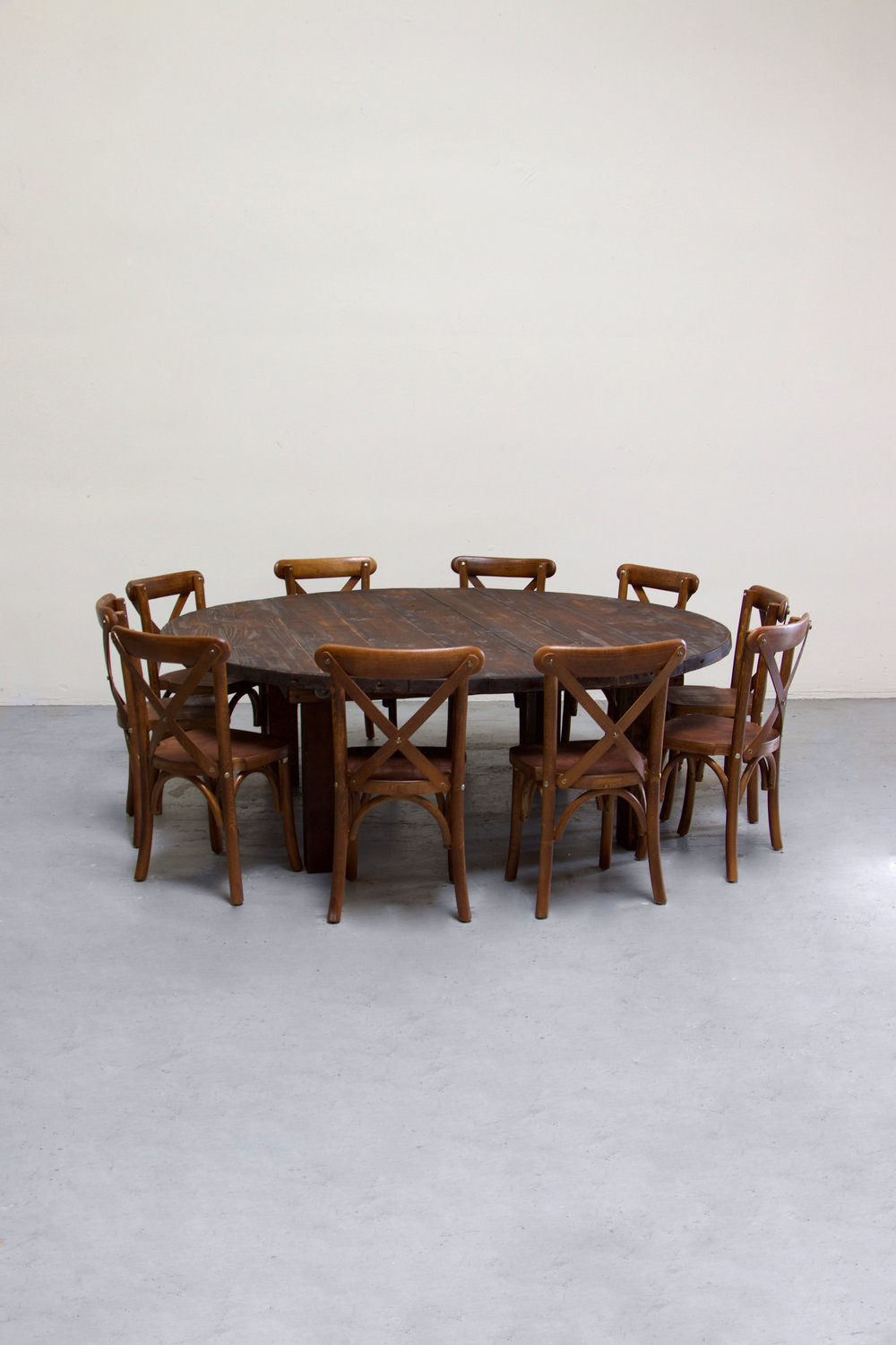 $135 1 Kids Mahogany Round Farm Table w/ 10 Cross-Back Chairs