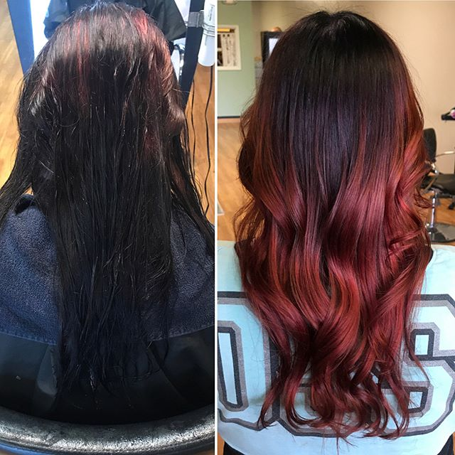 Stunning before and after by Hair Artist Nickie. Colormelt of shadow root to beautiful rich red.  #colormelt #talent #haircolor #blend #ombre #balayage #paint #northolmsted #stylist #emzysalonandspa