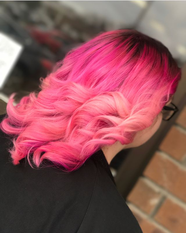 Beautiful vivid pink with rose gold tones! By Artist Nickie  #pinkhair #rosegold #haircolor #colorist #artist #pretty #emzysalonandspa #fashion #pravanavivids #custom