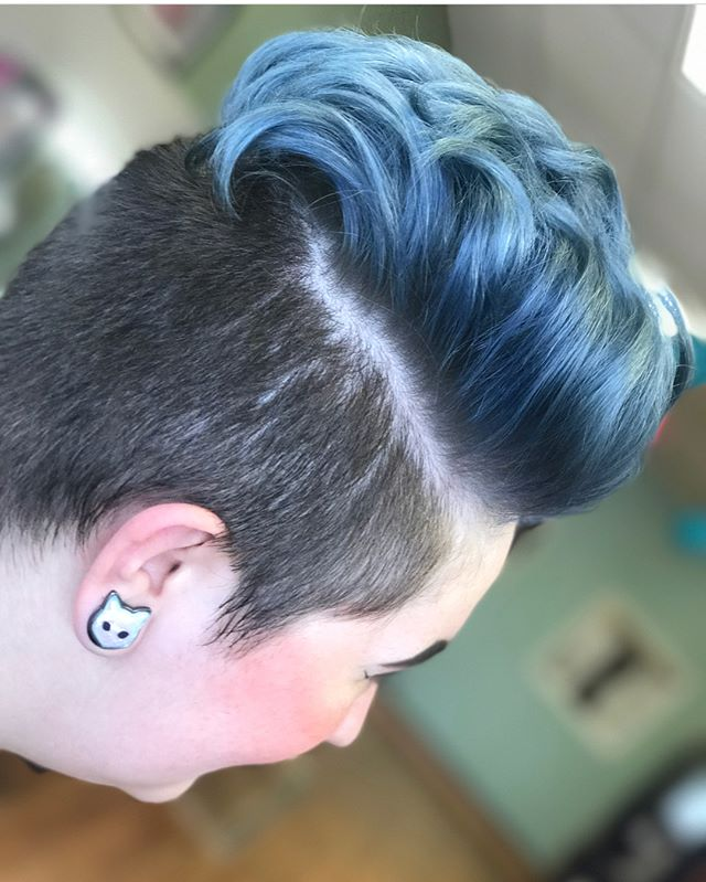 Blue Steel hair! Awesome and cool! By Artist Nickie  #haircolor #grey #silver #bluesteel #fashioncolor #custom #silverhair #colorist #emzysalonandspa #pompadour
