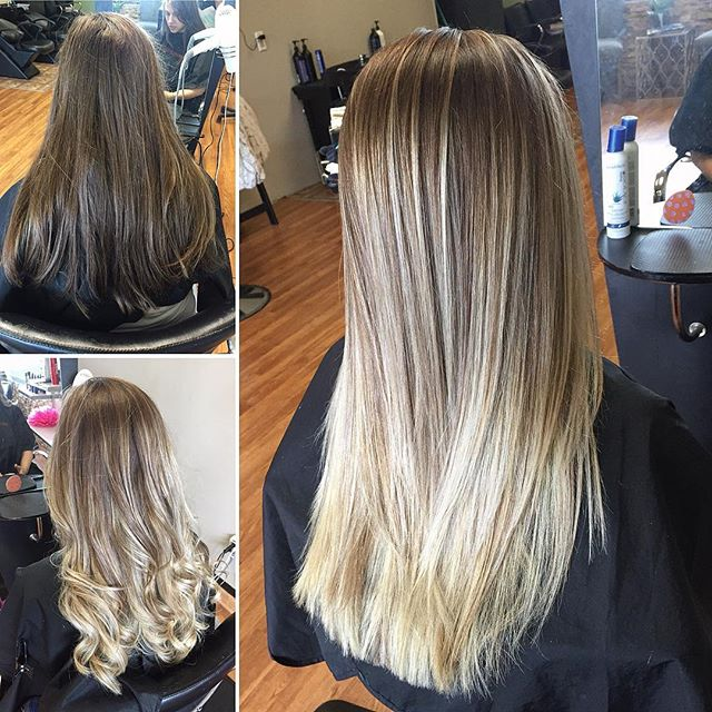 Wanted a fresh spring summer! Beautiful balayage ombré  #balayage #foilayage #highlights #ombre #summer #spring #haircolor #hairpaint #emzysalonandspa #fresh #makeover #blonde