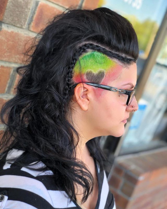 Fierce, Fashion forward hair! By Artist Melissa  #undercut #shave #side #haircut #newdo #fashion #trendy #heart #colorful #fierce #sexy #nerdygirl #love #creative #art #artist #heart #hairstylist #colorist #pravanavivids #custom #emzysalonandspa