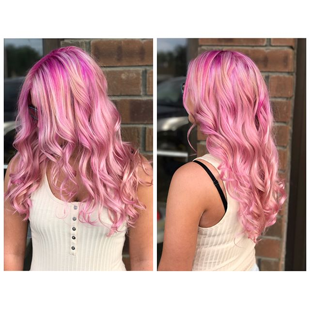 Fabulous Cotton Candy hair by Super talented OG Artist Nickie!  #beautiful #cottoncandyhair #pinkhair #haircolor #stylist #northolmsted #talent #fashion #longhair #emzysalonandspa #wavyhair #summer #behindthechair