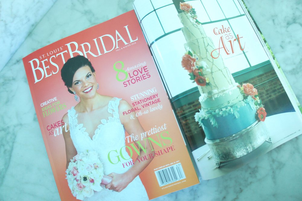 Our 5 page feature in St. Louis Best Bridal Magazine   http://www.stltoday.com/lifestyles/relationships-and-special-occasions/bestbridal/features/slice-of-design-cake-as-art/article_ea255080-ce18-527d-b234-ec88d93b2634.html