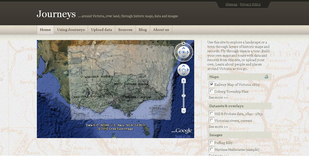 Screen shot of 'Journeys' website, 21 May 2010