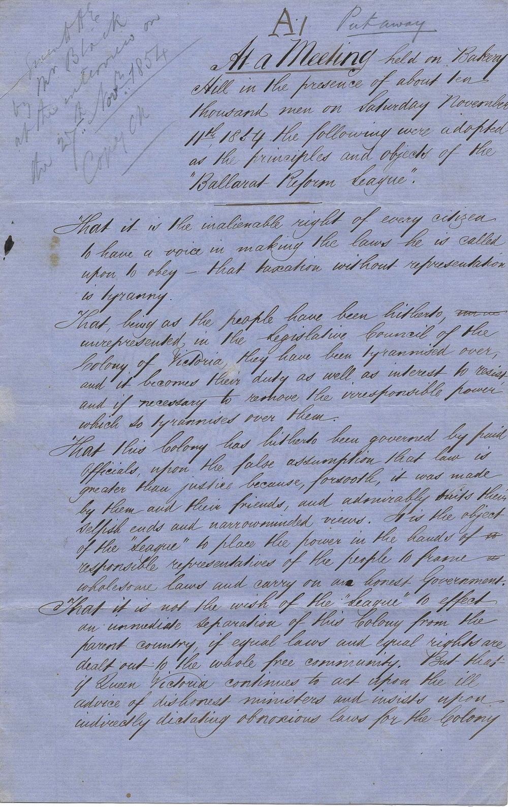 PROV, VPRS 4066/P0/Unit 1/Nov No.69 Ballarat Reform League Charter