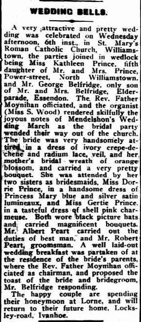 'Wedding Bells', Williamstown Chronicle, 1855, Trove