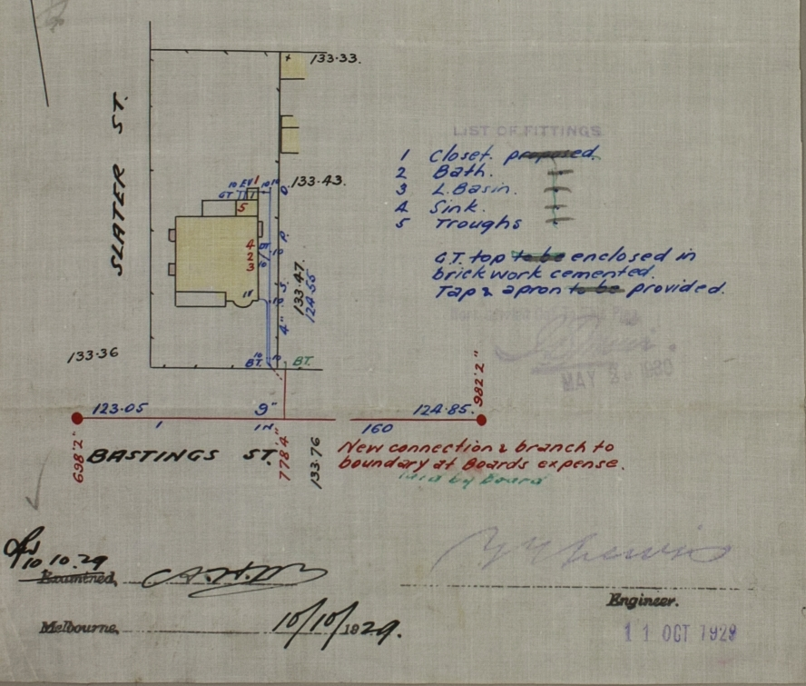 Property Service Plan for 205 Bastings Street, Northcote, 1929. PROV, VPRS 11570/P2, Unit 76, No.180359