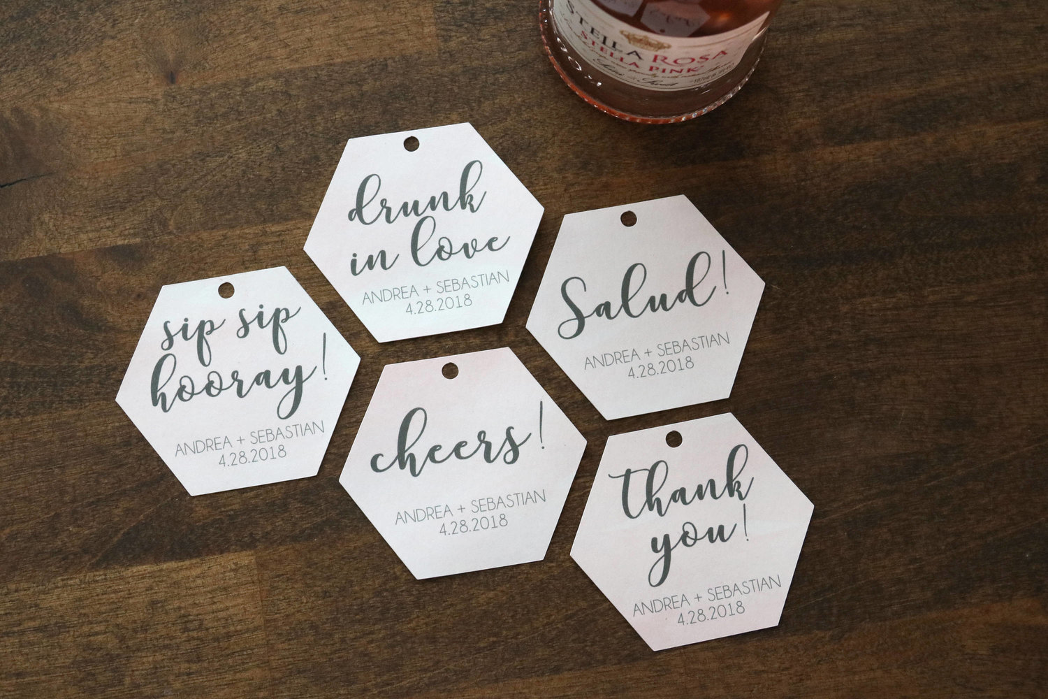 champagne wedding favor tags | gift tags | party favor | alcohol tag ...