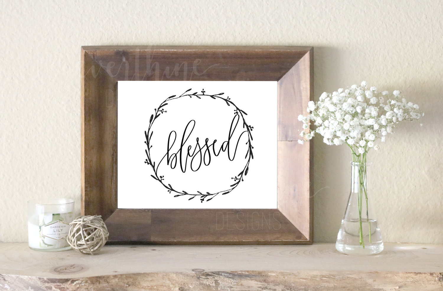 Calligraphy Printable Blessed Wreath Ready To Print Digital