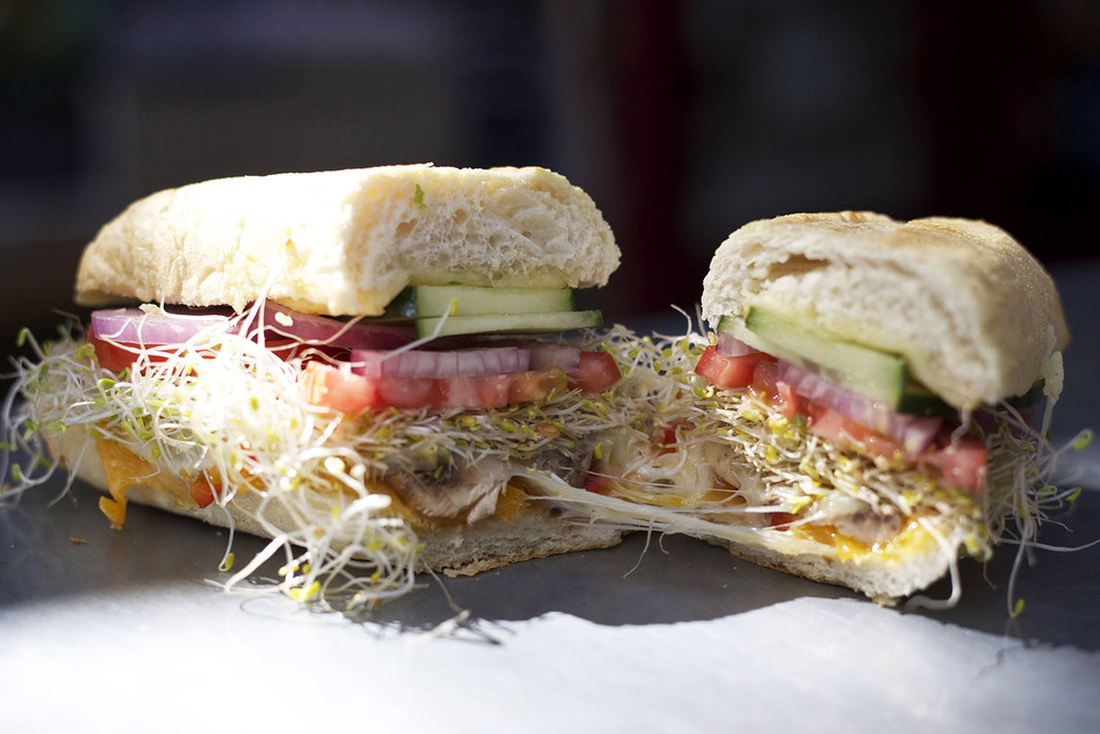 cheddar • swiss • provolone • mushrooms • red pepper • cucumber • onions • tomato • sprouts