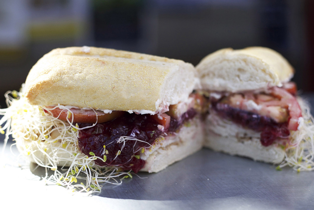turkey • cream cheese • cranberry sauce • sprouts • tomato