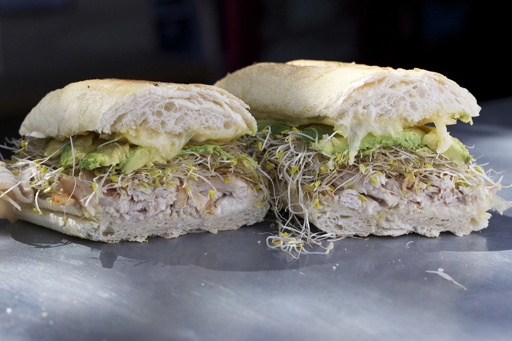 turkey • swiss • avocado • mayo • sprouts