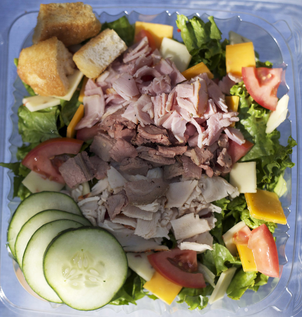 green leaf lettuce • turkey • roast beef • ham • cheddar & pepperjack cheeses • tomato • cucumber • croutons