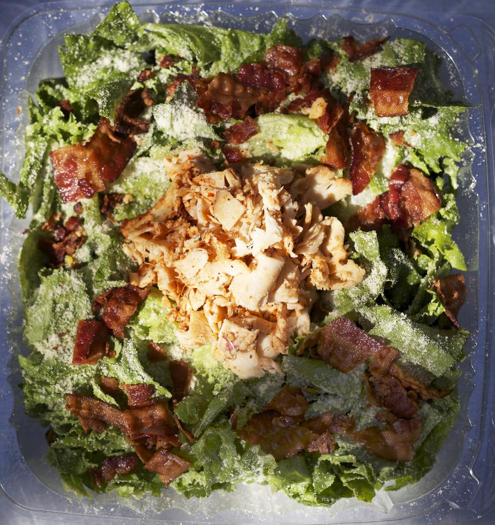 green leaf lettuce • chicken • parmesan • caeser dressing • croutons