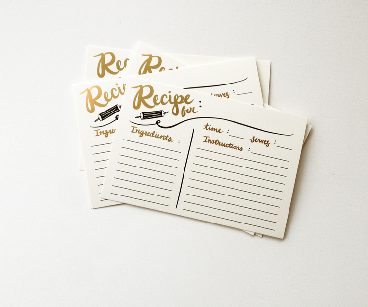 refill 10 pack gold foil recipe cards