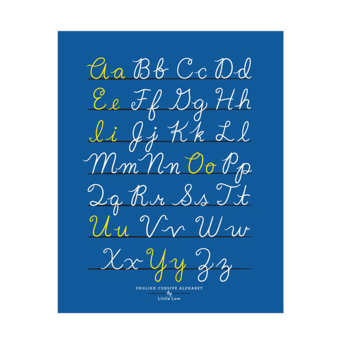 small fry cursive alphabet blue 11x14 little low