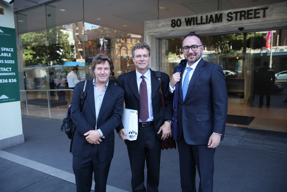 The Three AMIGOS Ray Argall (pres ADG), Greg Duffy (briefing solicitor) and David Chin (barrister) outside Fair Work Australia 21 November 2014