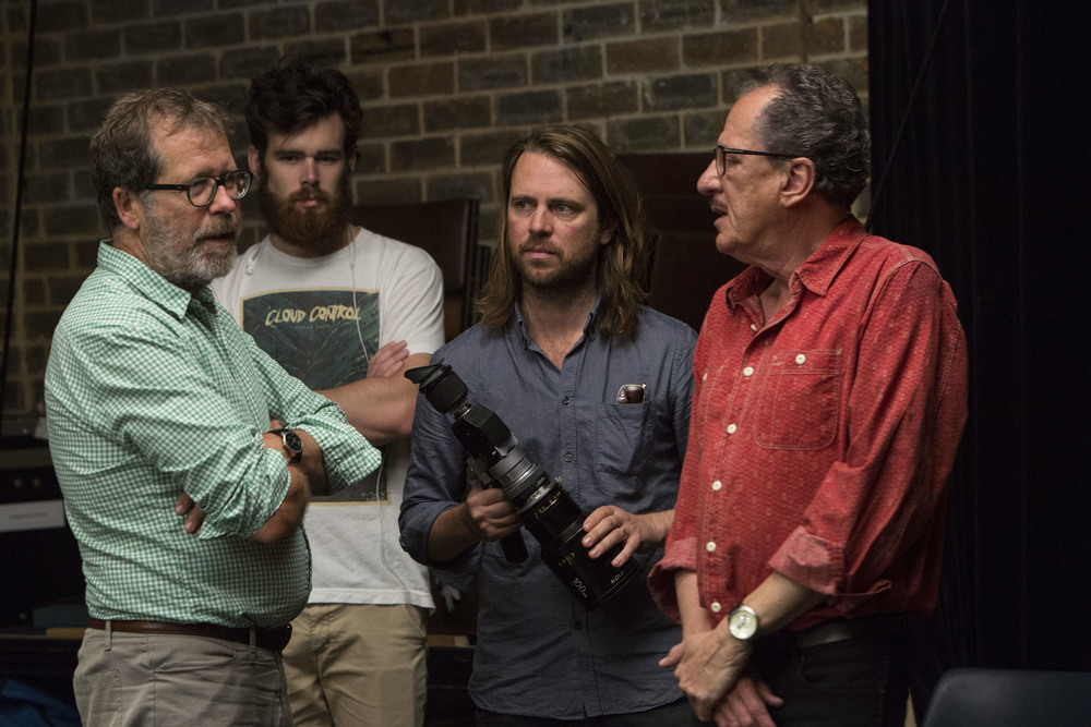 Neil Armfield, Ariel Martin, Germain McMicking & Geoffrey Rush on set