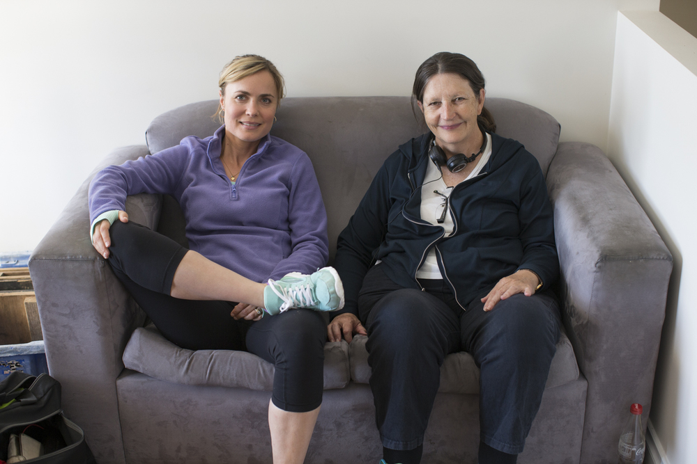 Radha Mitchell with Sue Brooks on the set of  Looking for Grace.  Photo by Mark Rogers
