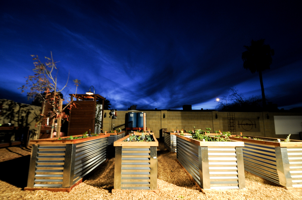 Raised  Hugelkulture  Beds and Outdoor Shower  The Backyard Farmyard, Phoenix, Arizona.