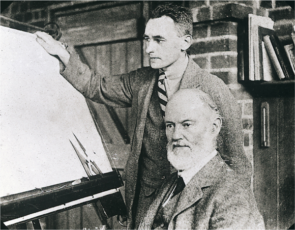 Sir Frederick Henry Rolls (seated) with his engineer collaborator Ivan Evernden