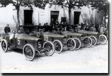 1914 Peugeot grand prix team. No 5 Boilot's 4.4litre retired lying second in the French Geand Prix at Lyons.
