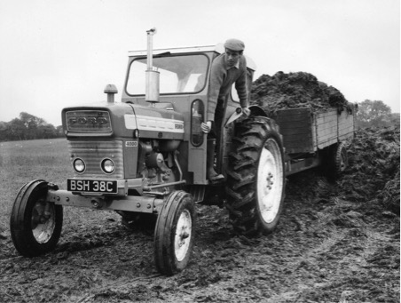 1965 and a works drive for Ford. Publicity picture; Ford Motor Company Tractor Operations, Basildon Essex shows star driver in 3-cylinder 46bhp diesel Ford 4000 that Edington Mains Farm could have bought for £1500.