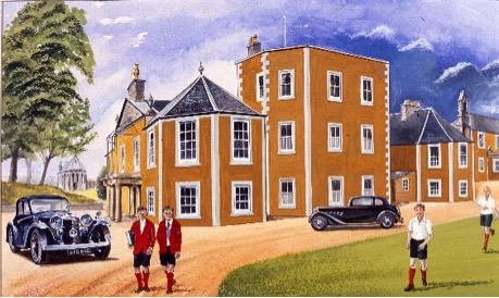 Loretto School in Jim Clark's time with his father's Alvis Speed Twenty. Painting by WK Henderson commissioned for the book.