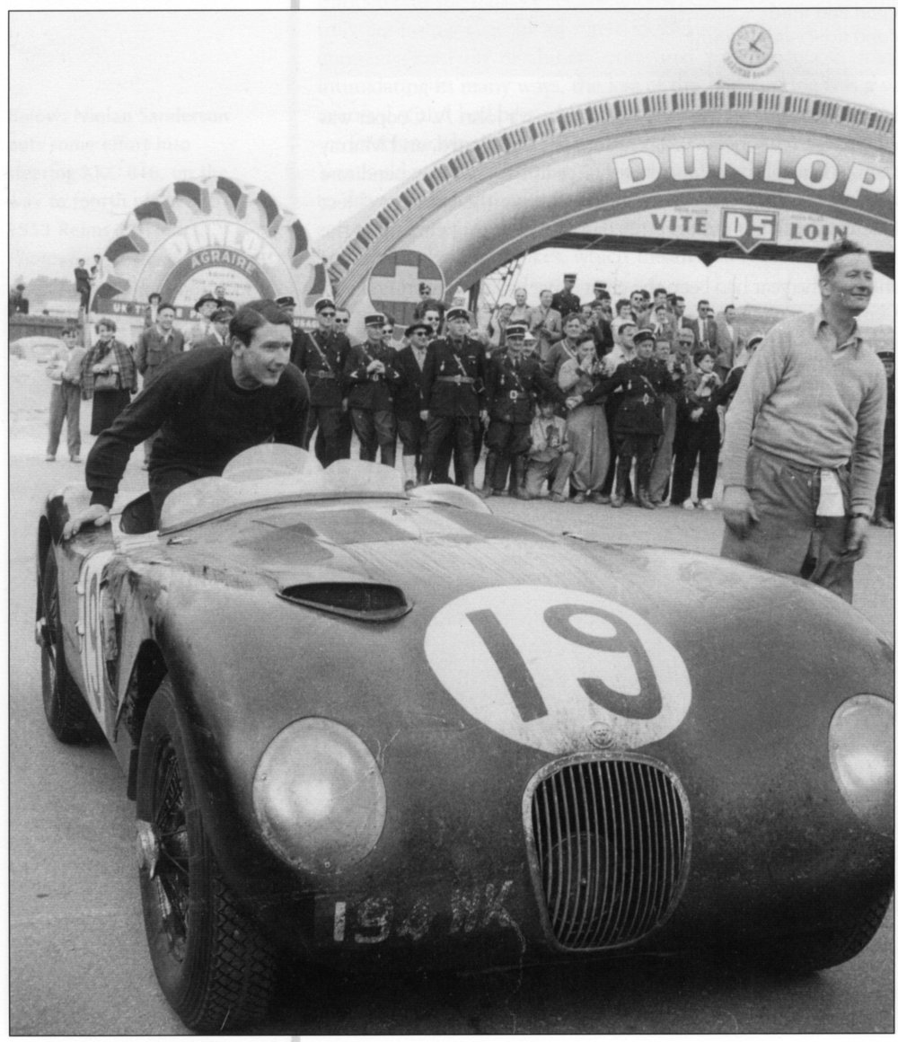 Ian Stewart in the works Jaguar C-type he drove to fourth place with Peter Whitehead (right) at Le Mans in 1953. So he already knew what a disc-braked Weber carburetted car felt like. Photo © Paul Skilleter collection.