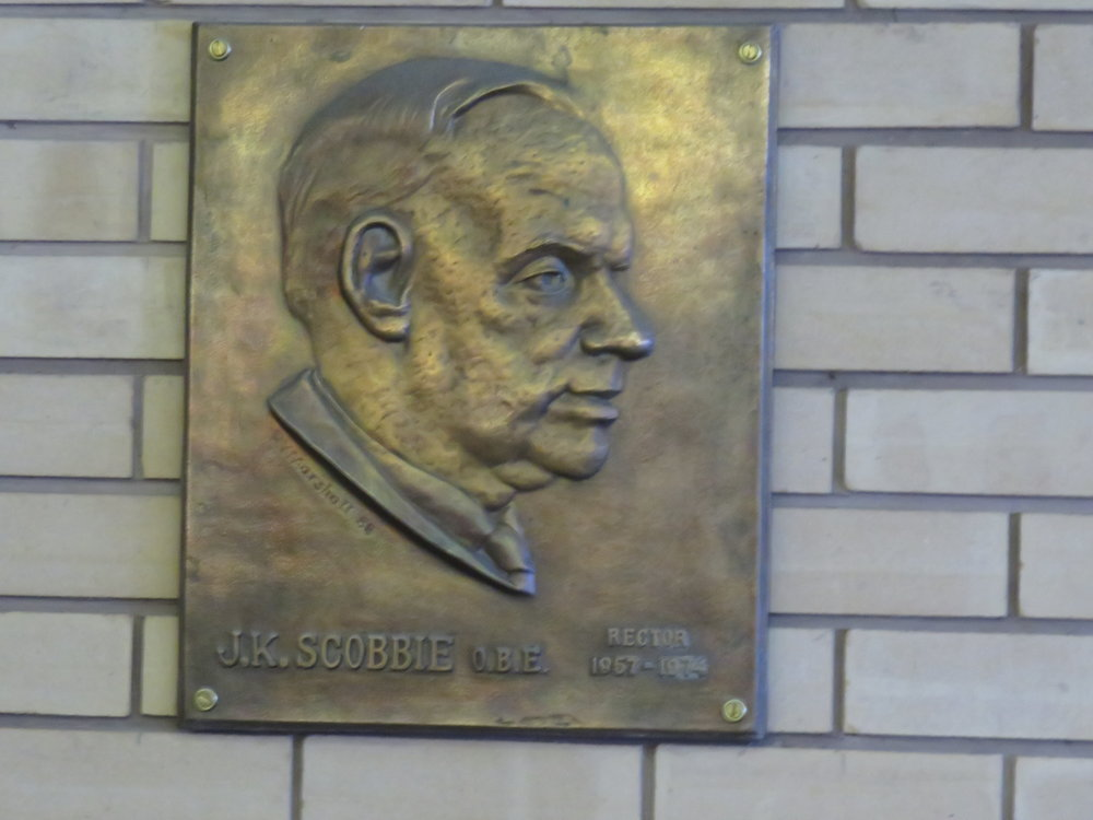 James K Scobbie plaque in Dalziel library