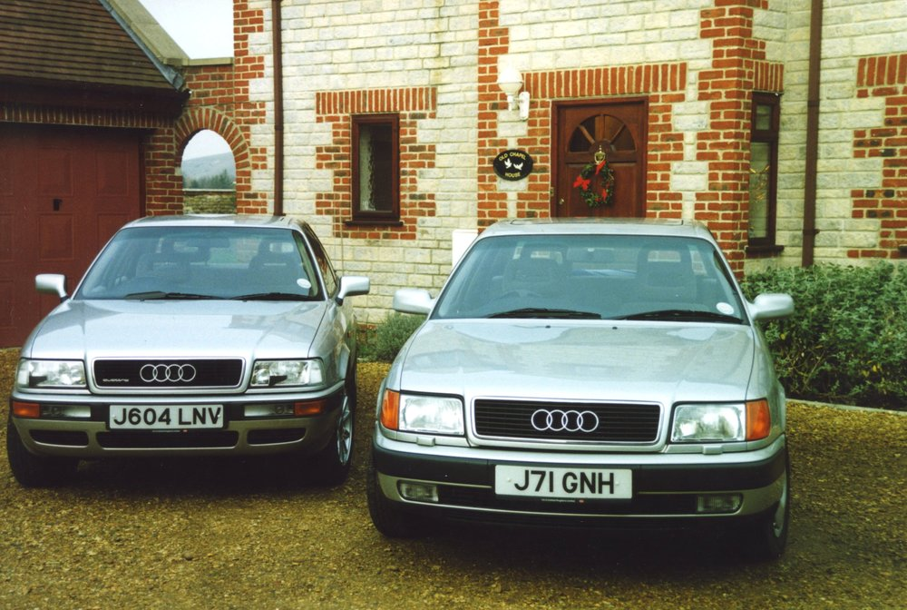 My earlier Audi 100 on right. I was doing a comparative road test with a nimbler Audi 80 Quattro that had the same 2.8 V6.