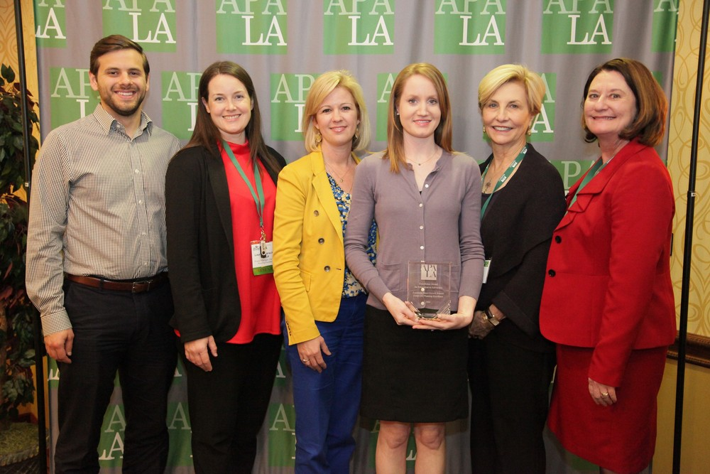 "Receiving the award from CPEX was Ryan Benton, Lauren Marschall, Rachel DiResto, Jennifer Stenhouse David, and Elizabeth ""Boo"" Thomas, along with APA-LA President Lydia Jemison"