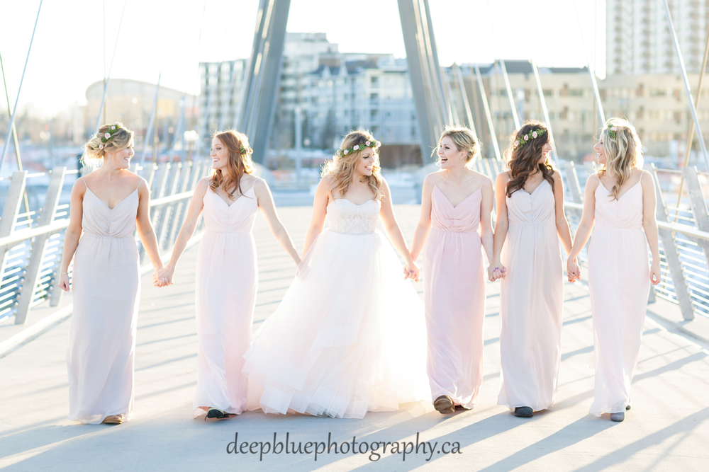 Real Bride Kirsten wearing a Tara Keely gown! Her bridesmaids are in Hayley Paige Occasions!