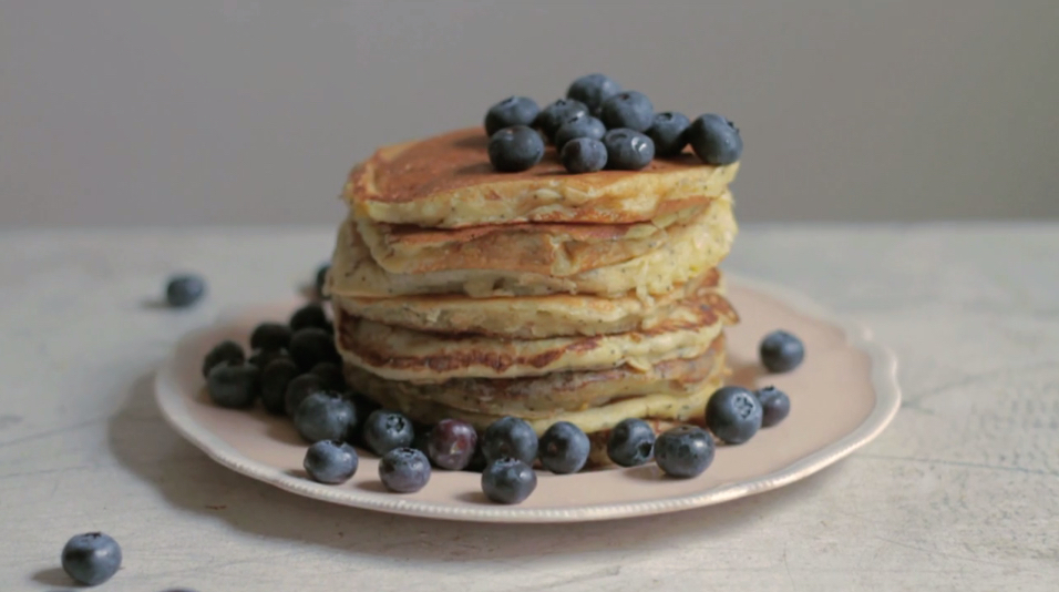 lemon poppy seed sourdough pancakes