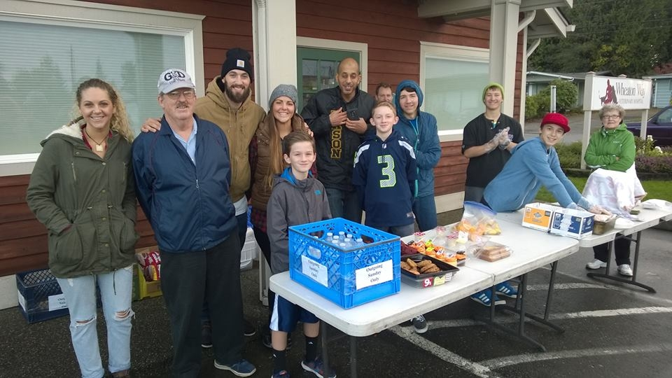 Serving an outdoor meal to the homeless and hungry of Kitsap County