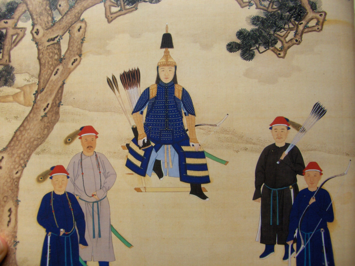The Kangxi Emperor in traditional Manchu armor.