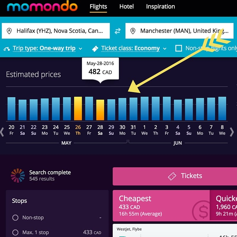 Day of the week priceFlights deals with Momondo