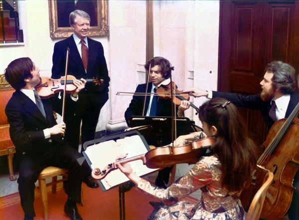 Cleveland Quartet在白宮為Jimmy Carter總統演出。