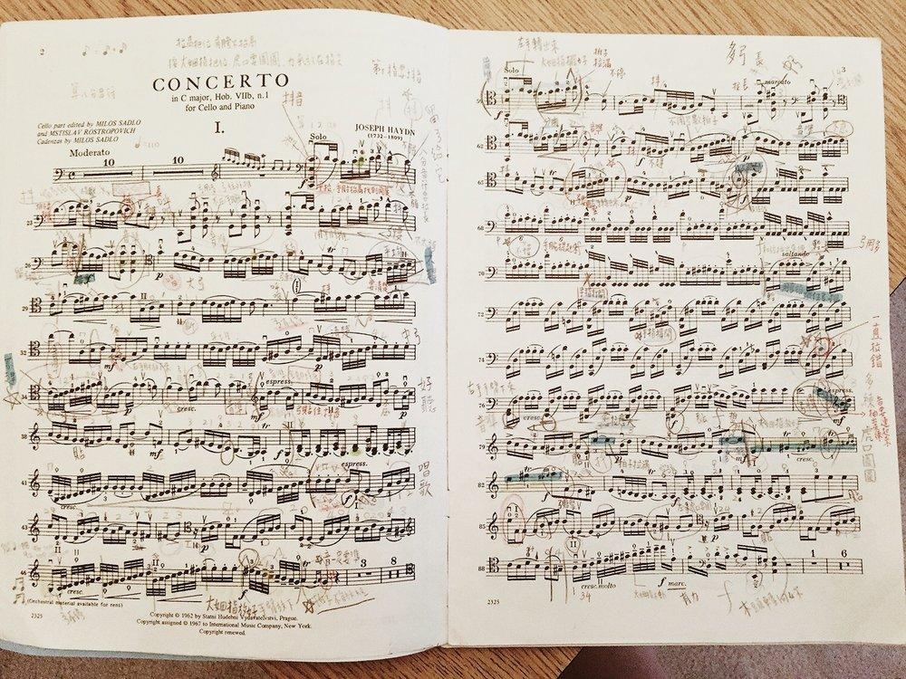 面對小時候粗心大意的我,我細心的大提琴老師不厭其煩的每週用各種色鉛筆把需要牢記練習的細節寫上。
