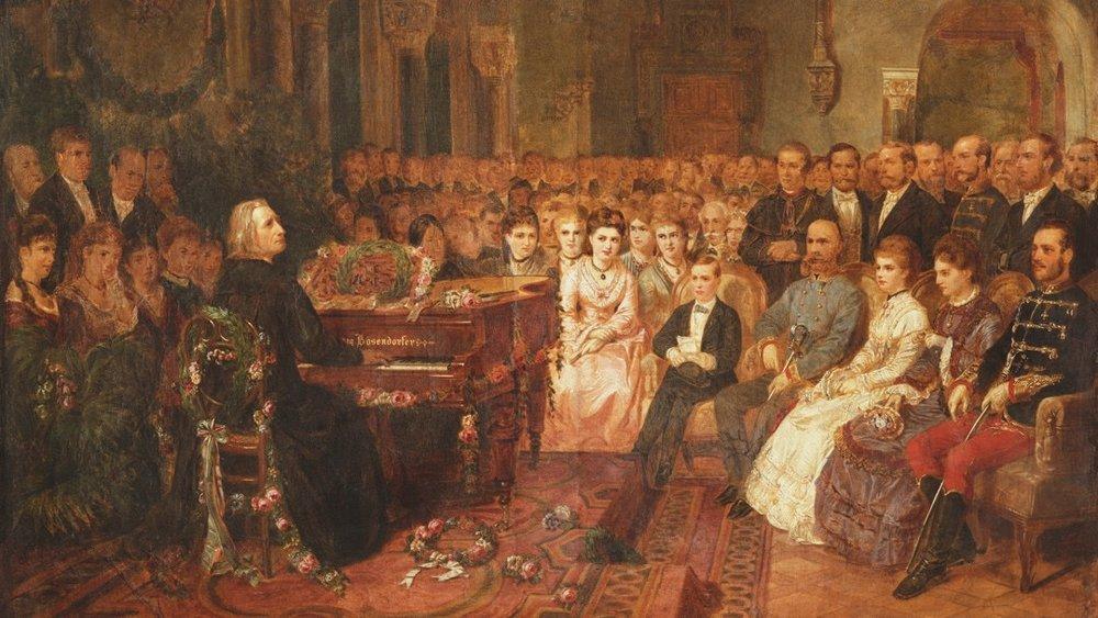Painting of Liszt playing a concert for the emperor Franz /李斯特使用包森朵夫鋼琴為拉蘭斯皇帝演奏