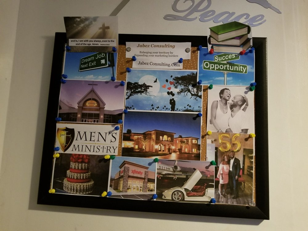 Derrick's Vision Board sent to us only 2-days later.