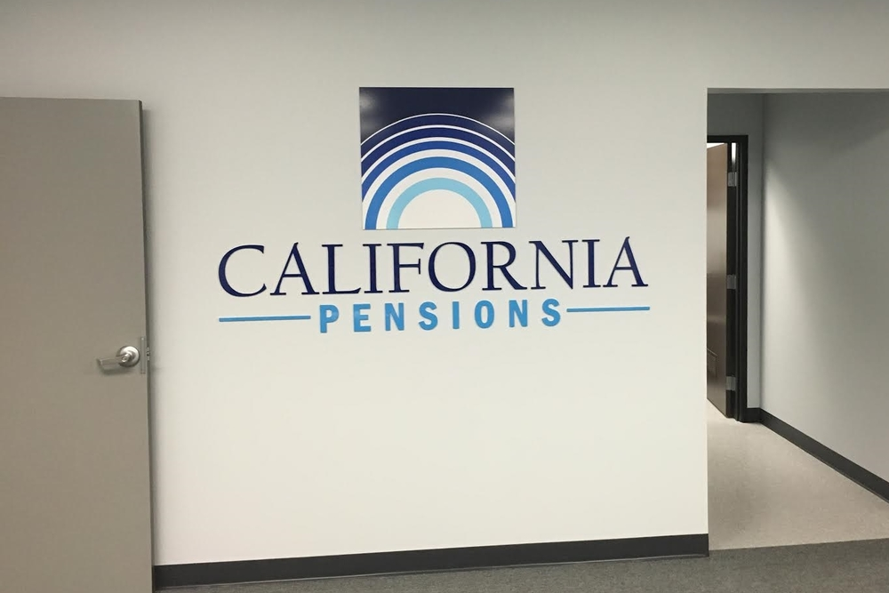 CaliforniaPensions_lobbysign_acrylicsign_AgouraHills_premiumSignSolutions