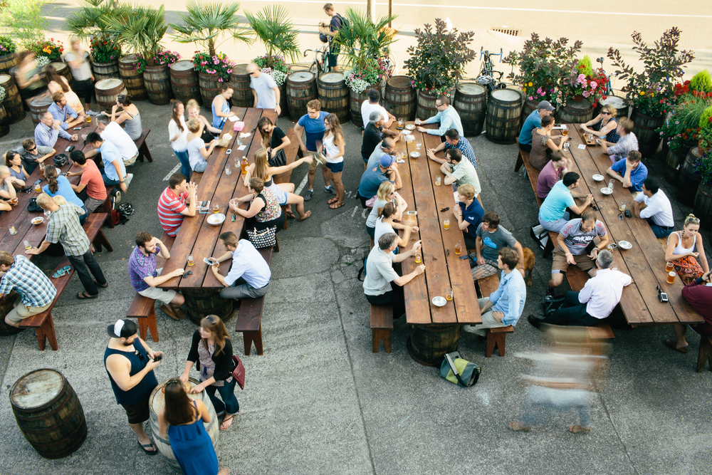 Overhead shot of the U.B.G.'s outdoor seating