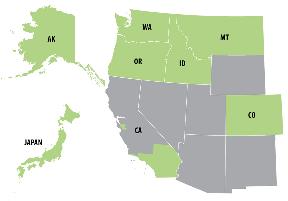 Distribution map shows Fremont in Washington, Oregon, Idaho, COlorado, California, Alaska, and Japan