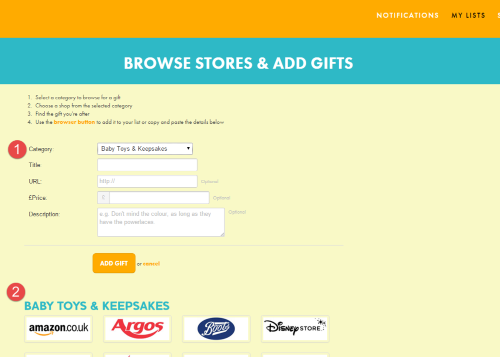 Select category and click logos to browse stores