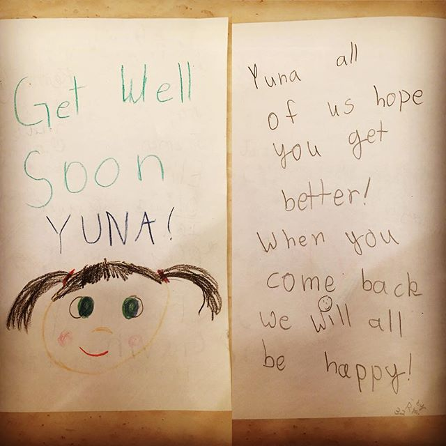 Yuna's friends and teachers made this beautiful get well card for Yuna who had to miss the school due to illness. All classmates signed the card - their handwriting was so cute!  Ms. Audrey, the world-best paraeducator for Yuna, brought the card to our home and kindly spent some time with Yuna. Yuna was so happy to see her beloved Ms. Audrey and enjoyed her favorite activities with Ms. Audrey. So wonderful to see how much love Yuna receives in school. Many many thanks to Mrs. Collins' class at Bridlemile! #MyFoxGirl #FOXG1 #ThankYou #GetWellSoon