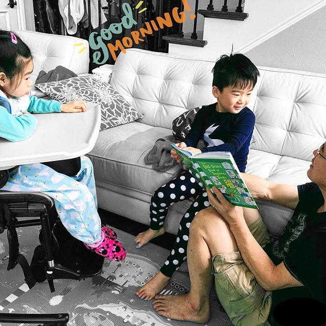 Good morning! Here is how we started our Saturday morning. Reading the book that Joon likes the best - Wacky Wednesday!!! Joon laughed loud at each page and loved finding all wacky things. Yuna always likes reading a book with Joon and Daddy. Poor Joon had a high fever all weekend, but at least for this moment of enjoying the Wacky Wednesday, Joon forgot all about his fever and sore throat. #GoodMorning #MyFoxGirl #MyFoxFamily #FOXG1