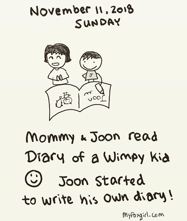 Joon and mommy started a new diary project today! So fun to read together and come up with a new project 😁 #MyFoxFamily #MyFoxGirl #soFun