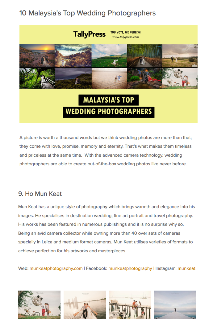 We are nominated as Malaysia Top 10 Wedding Photographer in Malaysia. We truly appreciate all your support . Kindly click on the image to read full article : )